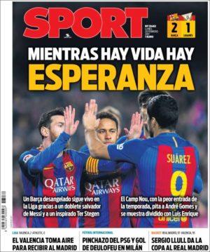Portada de Sport del 20 de febrero de 2017.