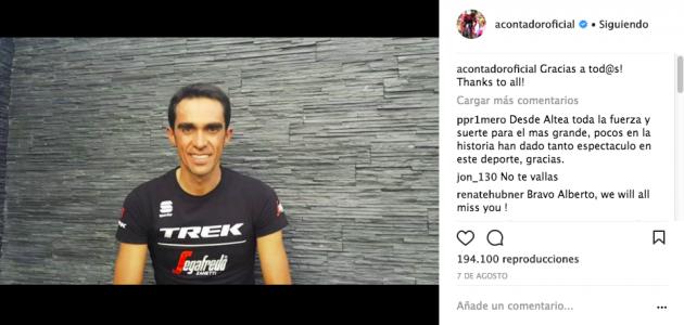 Vídeo donde Contador anuncia su retirada en Instagram: @acontadoroficial.