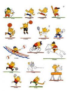 Cobi practicando varios deportes: Javier Mariscal.