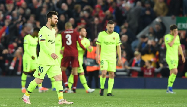 La decepción de Messi y sus compañeros tras caer eliminados en Champions ante el Liverpool: EFE.