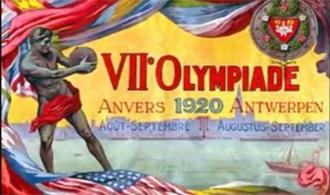 Anuncio de los Juegos Olímpicos de Amberes 1920.