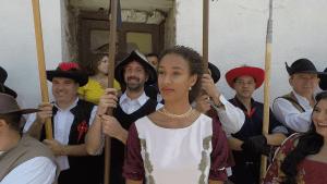 María Vicente vestida de princesa en las Fiestas de Huélamo 2018: Liberal de Castilla.
