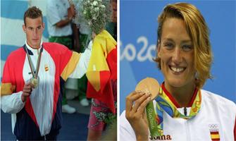 Martín López-Zubero en los Juegos Olímpicos de Barcelona (Efe-Pastor) y Mireia Belmonte en los Juegos Olímpicos de Río (EFE).