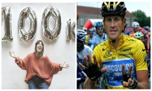 Almudena Ripamonti (Instagram) y Lance Armstrong (AFP). Ambos celebran falsas victorias.