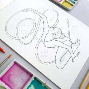 """Ilustración dentro de """"Pinceladas. Rítmica para colorear"""": Montse Martín."""