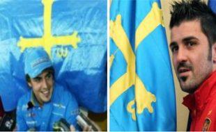 Fernando Alonso (Agencias) y David Villa (EFE), ambos con la bandera de Asturias.