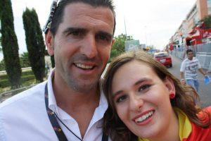 Servidora junto a Abraham Olano durante la Vuelta 2009 a su paso por Córdoba: Ravelo.