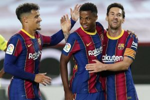 Coutinho, Ansu Fati y Messi celebran la goleada frente al Villarreal: Messi.com.