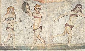Cuadro de mujeres espartanas haciendo deporte.