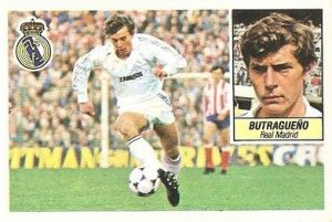 Cromo de Emilio Butragueño en su época como jugador del Real Madrid: Ediciones Este.