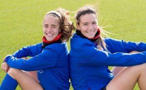 Maite Oroz y Dámaris Egurrola cuando eran compañeras en el Athletic de Bilbao: Athletic Club.