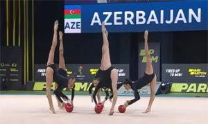 Azerbaiyán destacó en el Campeonato de Europa de Gimnasia Rítmica 2020 por la sobriedad de sus maillots en el ejercicio de 5 pelotas: You Tube.