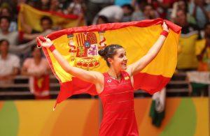Carolina Marín al proclamarse campeona olímpica en Río 2016: EFE.