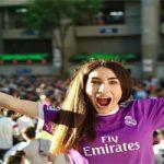 Maribel de Jesús en las puertas del Bernabéu antes de la pandemia: Foto cedida por Maribel de Jesús.