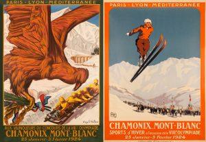 Carteles de los Juegos Olímpicos de Invierno de Chamonix 1924.