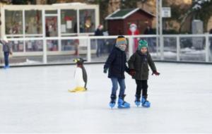 Niños aprendiendo a patinar sobre hielo: RF.