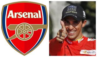 Escudo del Arsenal y Alberto Contador (EFE).