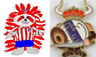 Oso indio del Atlético de Madrid (Pinterest) y escudo vikingo del Real Madrid (Todocoleccion.net).