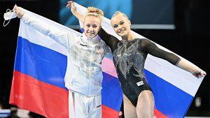 Viktoriya Listunova y Angleina Melnokova, oro y plata respectivamente en el concurso individual: Agencias.