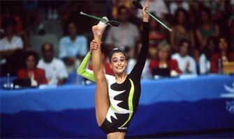 Carolina Pascual en Barcelona 92 durante el ejercicio de mazas: Agencias.