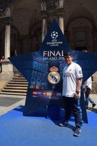 Cristian Camarero pudo ver el derbi de la final de la Champions 2016 desde Milán: Foto cedida por Cristian Camarero.