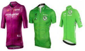 Maillots de los puntos: púrpura para el Giro y verde para el Tour y la Vuelta.