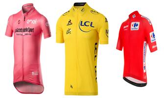 Maillots de la general: rosa para el Giro, amarillo para el Tour y rojo para la Vuelta.