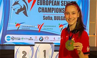 Adriana Cerezo muestra orgullosa su oro europeo: Redes sociales.