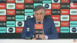 Carlo Ancelotti en su presentación como entrenador del Real Madrid para las próximas tres temporadas: Real Madrid TV.
