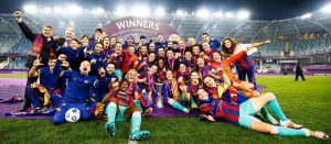 El Barcelona Femenino celebrando la primera Champions de su historia: F.C. Barcelona.