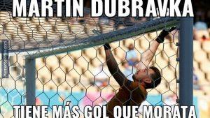 Uno de tantos memes que se burlan de la efectividad de Álvaro Morata: Memedeportes.com.