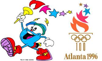 El logo de los Juegos Olímpicos de Atlanta 96 y su mascota oficial, Izzy.