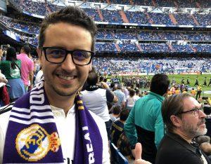 Alfonso Muñoz en el Bernabéu antes de la pandemia: Foto cedida por The Golden Arrow.