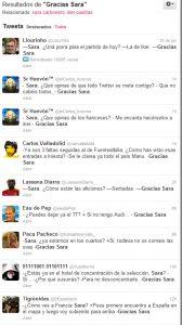 Algunos ejemplos de #GraciasSara en Twitter.